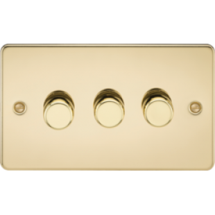 Flat Plate 3G 2 Way 40-400W Dimmer - Polished Brass