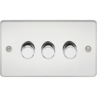 Flat Plate 3G 2 Way 40-400W Dimmer - Polished Chrome