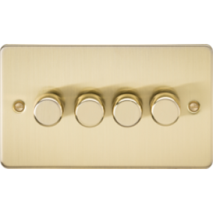 Flat Plate 4G 2 Way 40-400W Dimmer - Brushed Brass