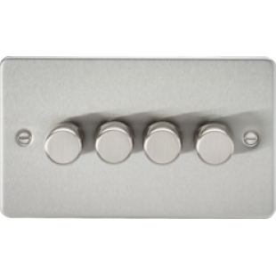 Flat Plate 4G 2 Way 40-400W Dimmer - Brushed Chrome