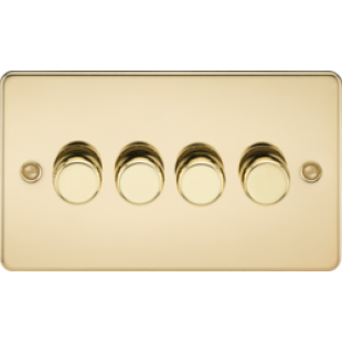 Flat Plate 4G 2 Way 40-400W Dimmer - Polished Brass