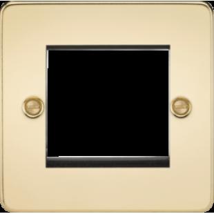 Flat Plate 2G Modular Faceplate - Polished Brass