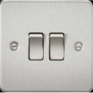 Knightsbridge Flat Plate 10A 2G 2 Way Switch - Brushed Chrome