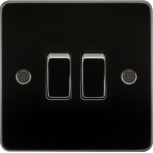 Knightsbridge Flat Plate 10A 2G 2 Way Switch - Gunmetal