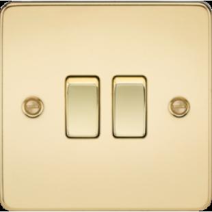 Knightsbridge Flat Plate 10A 2G 2 Way Switch - Polished Brass