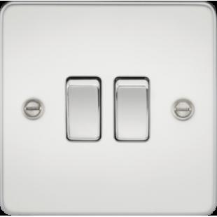Knightsbridge Flat Plate 10A 2G 2 Way Switch - Polished Chrome