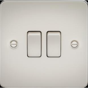 Knightsbridge Flat Plate 10A 2G 2 Way Switch - Pearl