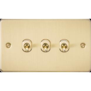 Knightsbridge Flat Plate 10A 3G 2 Way Toggle Switch - Brushed Brass