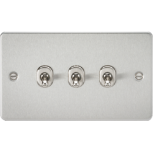 Knightsbridge Flat Plate 10A 3G 2 Way Toggle Switch - Brushed Chrome