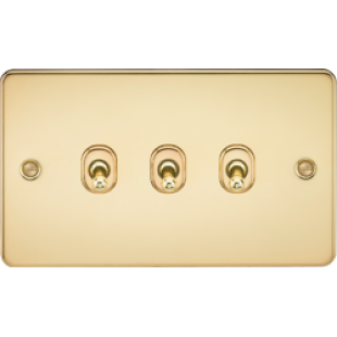 Knightsbridge Flat Plate 10A 3G 2 Way Toggle Switch - Polished Brass