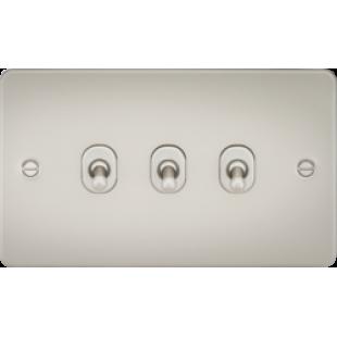 Knightsbridge Flat Plate 10A 3G 2 Way Toggle Switch - Pearl