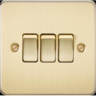 Knightsbridge Flat Plate 10A 3G 2 Way Switch - Brushed Brass