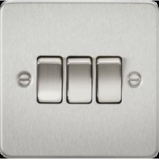 Knightsbridge Flat Plate 10A 3G 2 Way Switch - Brushed Chrome