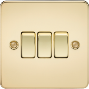 Knightsbridge Flat Plate 10A 3G 2 Way Switch - Polished Brass
