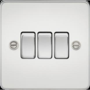 Knightsbridge Flat Plate 10A 3G 2 Way Switch - Polished Chrome