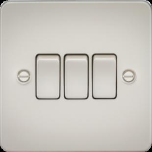 Knightsbridge Flat Plate 10A 3G 2 Way Switch - Pearl