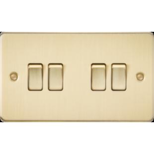 Knightsbridge Flat Plate 10A 4G 2 Way Switch - Brushed Brass