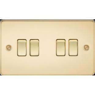 Knightsbridge Flat Plate 10A 4G 2 Way Switch - Polished Brass