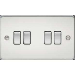 Knightsbridge Flat Plate 10A 4G 2 Way Switch - Polished Chrome