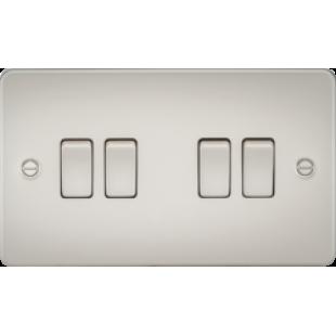 Knightsbridge Flat Plate 10A 4G 2 Way Switch - Pearl