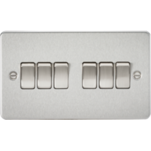 Knightsbridge Flat Plate 10A 6G 2 Way Switch - Brushed Chrome