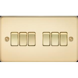 Knightsbridge Flat Plate 10A 6G 2 Way Switch - Polished Brass
