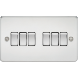 Knightsbridge Flat Plate 10A 6G 2 Way Switch - Polished Chrome