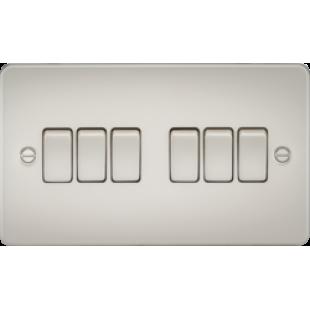 Knightsbridge Flat Plate 10A 6G 2 Way Switch - Pearl