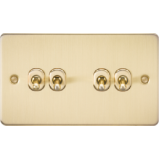Knightsbridge Flat Plate 10A 4G 2 Way Toggle Switch - Brushed Brass