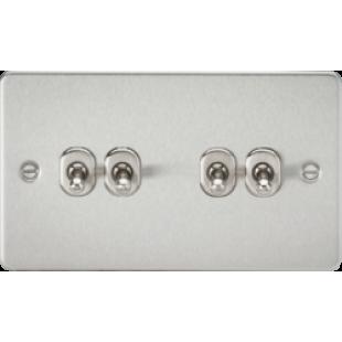 Knightsbridge Flat Plate 10A 4G 2 Way Toggle Switch - Brushed Chrome