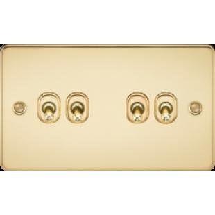 Knightsbridge Flat Plate 10A 4G 2 Way Toggle Switch - Polished Brass