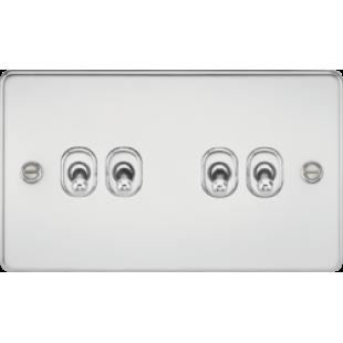 Knightsbridge Flat Plate 10A 4G 2 Way Toggle Switch - Polished Chrome