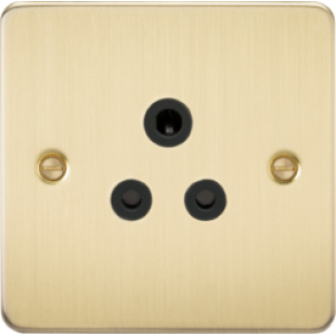 Flat Plate 5A Unswitched Socket - Brushed Brass With Black Insert