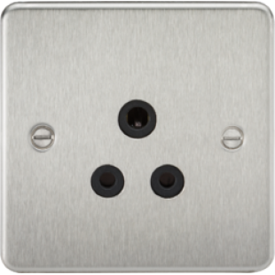 Flat Plate 5A Unswitched Socket - Brushed Chrome With Black Insert