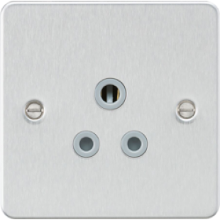 Flat Plate 5A Unswitched Socket - Brushed Chrome With Grey Insert