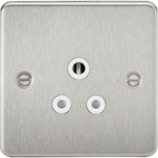 Flat Plate 5A Unswitched Socket - Brushed Chrome With White Insert