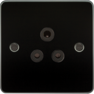 Flat Plate 5A Unswitched Socket - Gunmetal With Black Insert