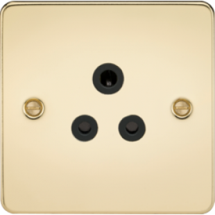 Flat Plate 5A Unswitched Socket - Polished Brass With Black Insert