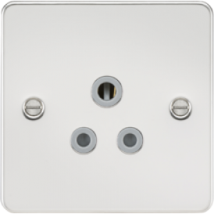 Flat Plate 5A Unswitched Socket - Polished Chrome With Grey Insert