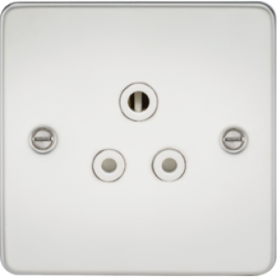 Flat Plate 5A Unswitched Socket - Polished Chrome With White Insert