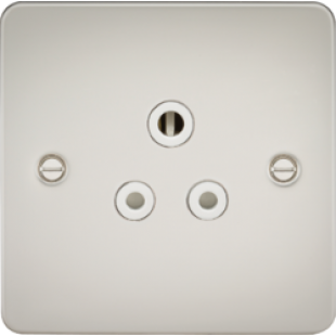 Flat Plate 5A Unswitched Socket - Pearl With White