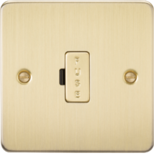 Flat Plate 13A Fused Spur Unit - Brushed Brass
