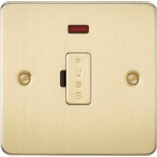 Flat Plate 13A Fused Spur Unit With Neon - Brushed Brass