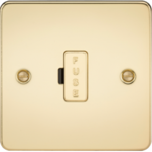 Flat Plate 13A Fused Spur Unit - Polished Brass
