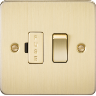 Flat Plate 13A Switched Fused Spur Unit - Brushed Brass
