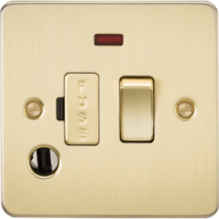 Flat Plate 13A Switched Fused Spur Unit With Neon And Flex Outlet - Brushed Brass