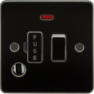Flat Plate 13A Switched Fused Spur Unit With Neon And Flex Outlet - Gunmetal