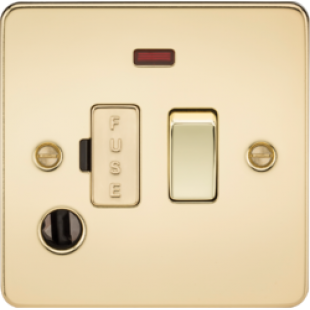 Flat Plate 13A Switched Fused Spur Unit With Neon And Flex Outlet - Polished Brass