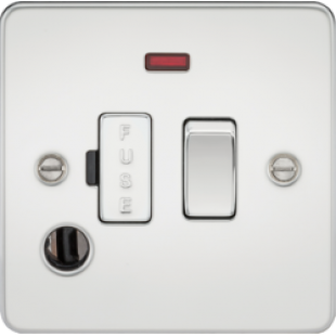 Flat Plate 13A Switched Fused Spur Unit With Neon And Flex Outlet - Polished Chrome