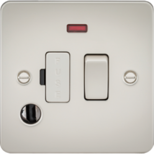 Flat Plate 13A Switched Fused Spur Unit With Neon And Flex Outlet - Pearl